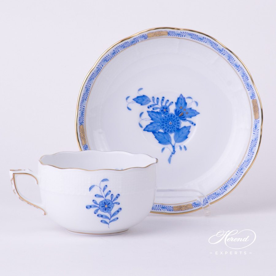 Tea Cup with Saucer 724-0-00 AB Apponyi Blue - Chinese Bouquet pattern - Herend porcelain hand painted.