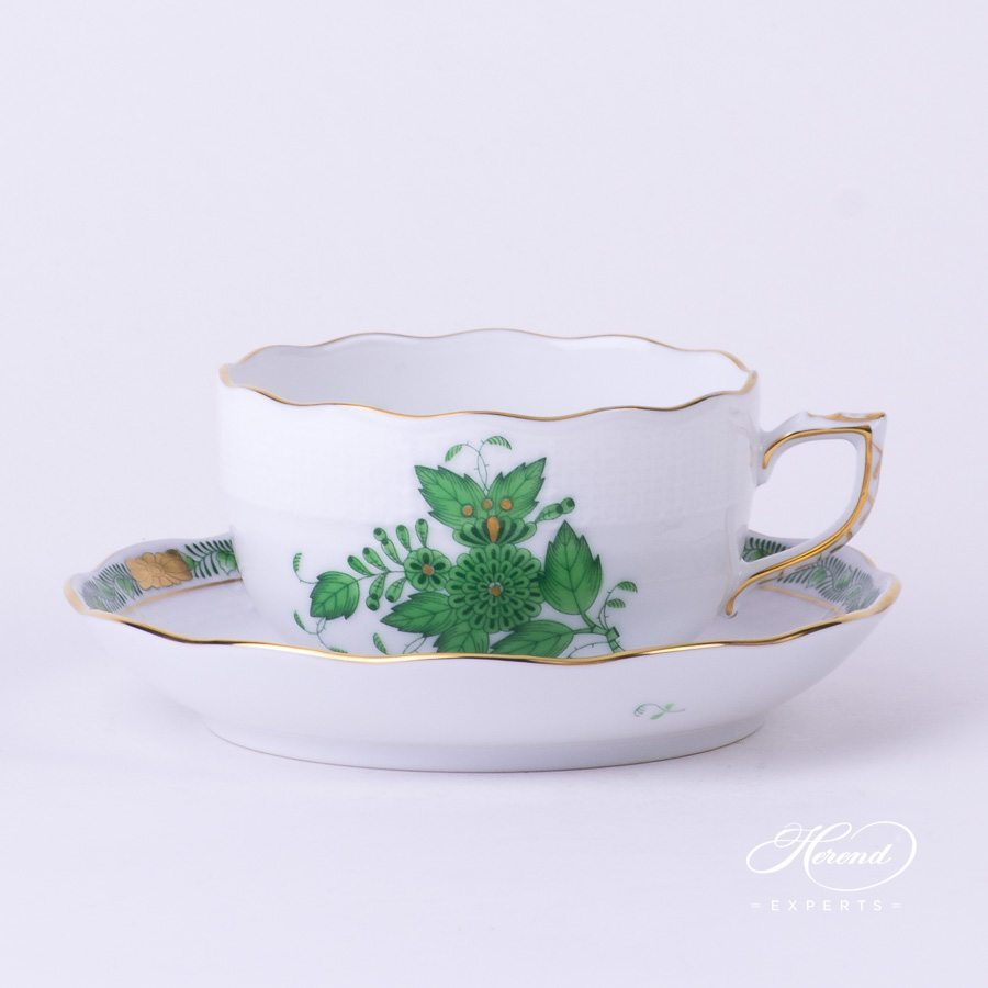 Tea Cup with Saucer 724-0-00 AV Chinese Bouquet / Apponyi Green decor. Herend porcelain hand painted