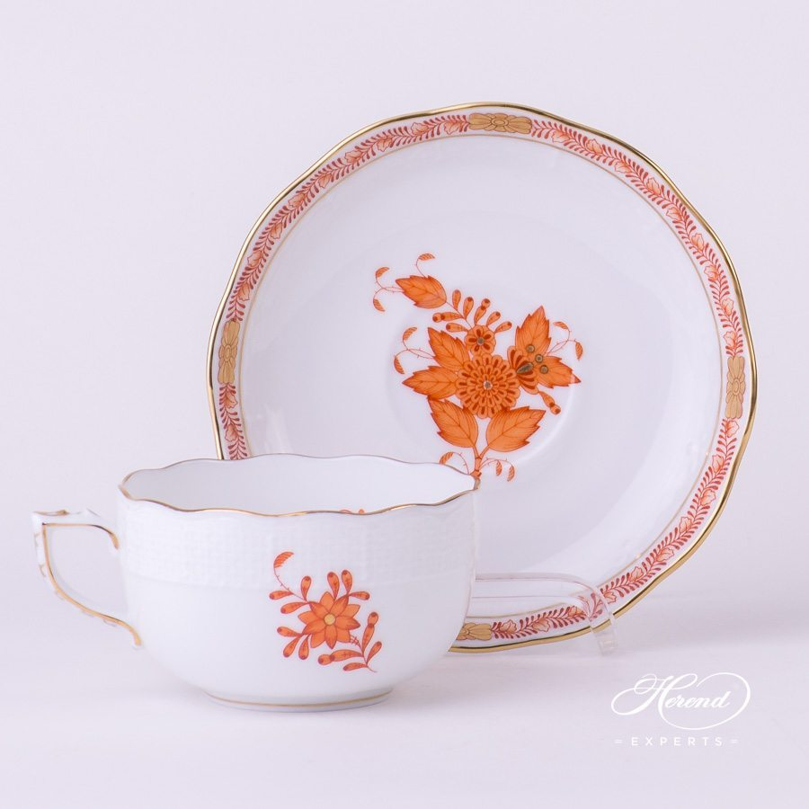 Tea Cup with Saucer 724-0-00 AOG Chinese Bouquet Rust / Apponyi Orange decor. Herend porcelain hand painted