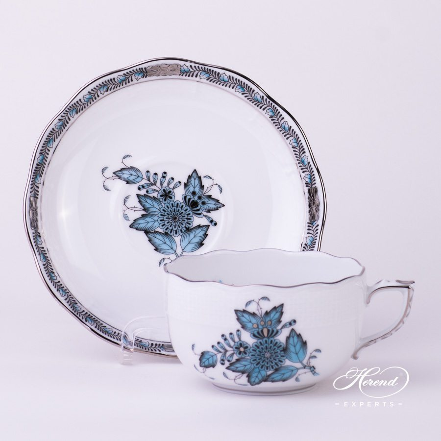 Tea Cup with Saucer 724-0-00 ATQ3-PT Apponyi Turquoise pattern - Herend porcelain hand painted.