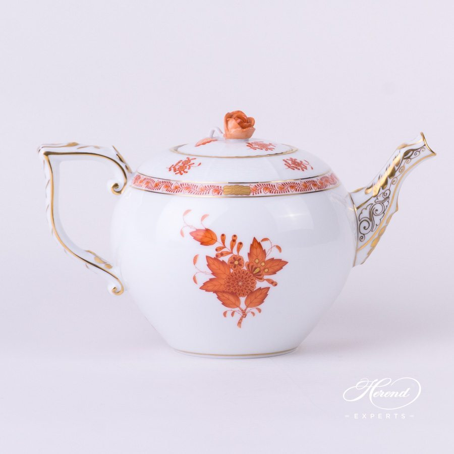 Tea Pot with Rose Knob 606-0-09 AOG Chinese Bouquet Rust / Apponyi Orange decor. Herend porcelain hand painted