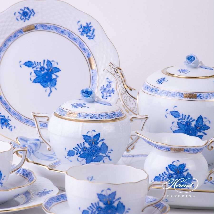 Tea Set for 4 Persons Apponyi AB blue pattern - Herend porcelain hand painted.