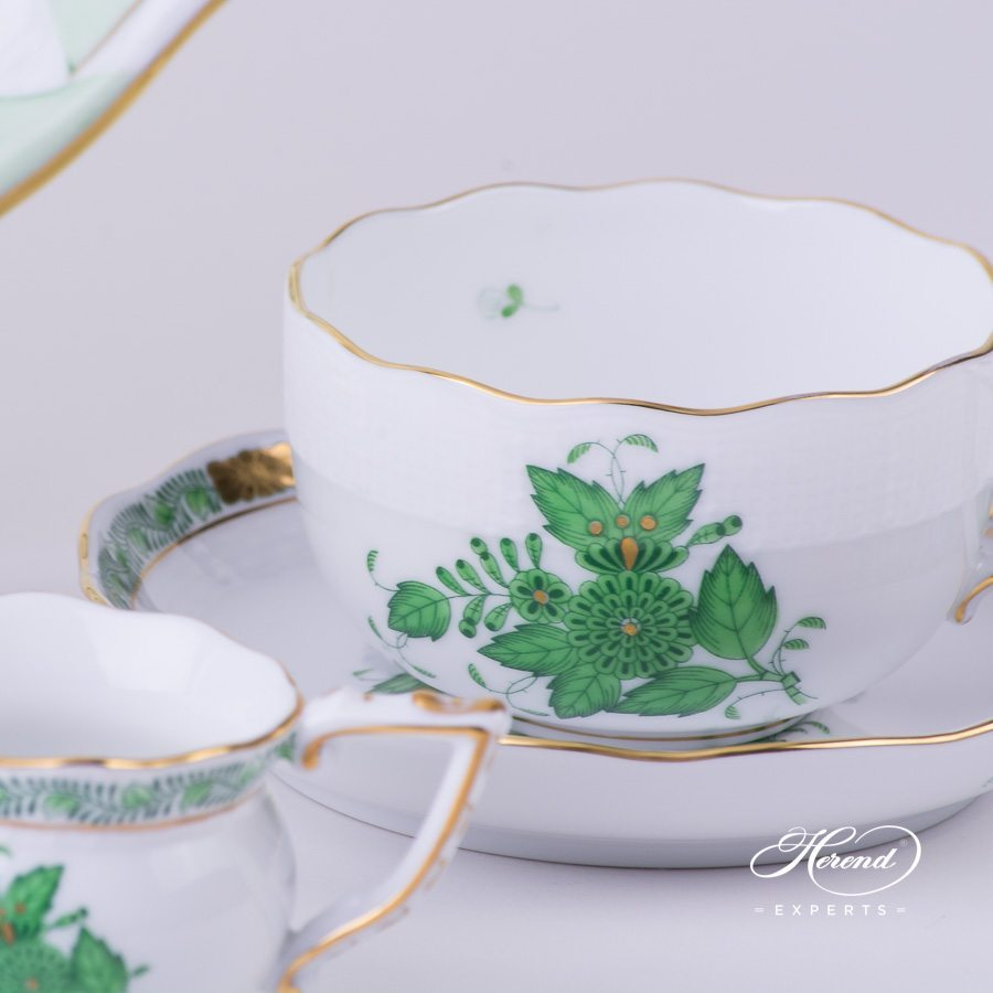 Tea Set for 2 Persons - Chinese Bouquet Green / Apponyi Green decor. Herend porcelain hand painted