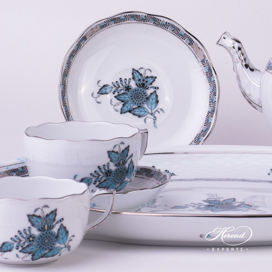 Tea Set for 2 Persons Apponyi ATQ3-PT turquoise pattern - Herend porcelain hand painted.