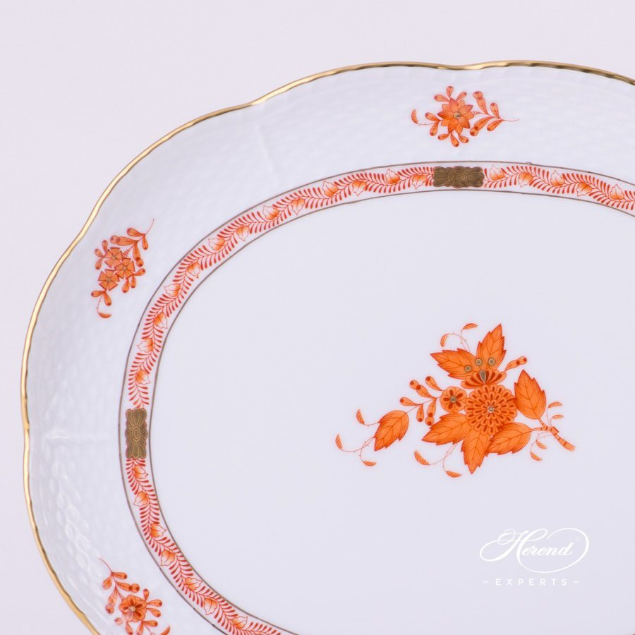 Oval Tray 417-0-00 AOG Chinese Bouquet Rust / Apponyi Orange decor. Herend porcelain hand painted