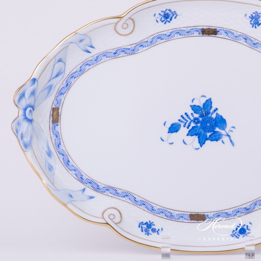 Tray with Ribbon 400-0-00 AB Apponyi Blue - Chinese Bouquet pattern - Herend porcelain hand painted.