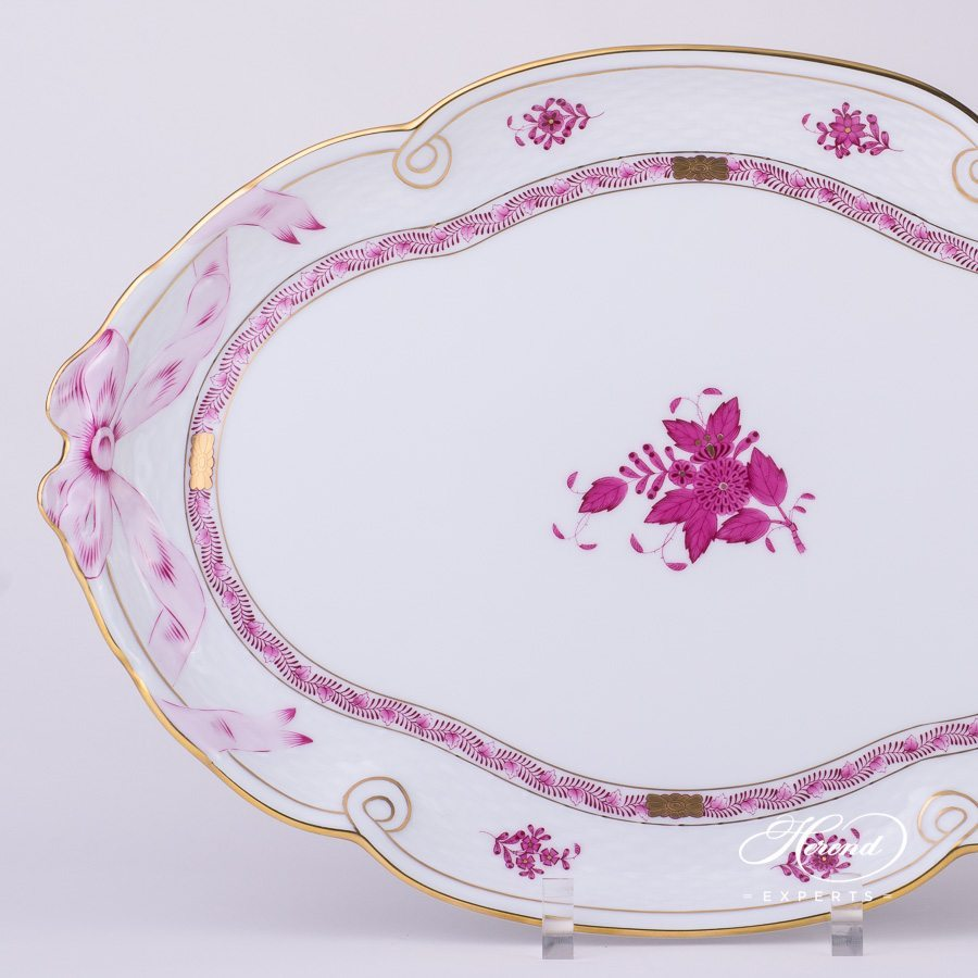 Tray with Ribbon 400-0-00 AP Apponyi Pink - Chinese Bouquet pattern - Herend porcelain hand painted.