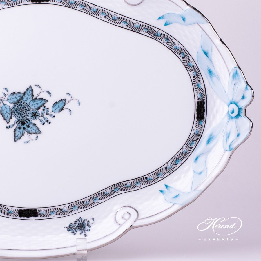 Tray with Ribbon 400-0-00 ATQ3-PT Turquoise pattern - Herend porcelain hand painted.