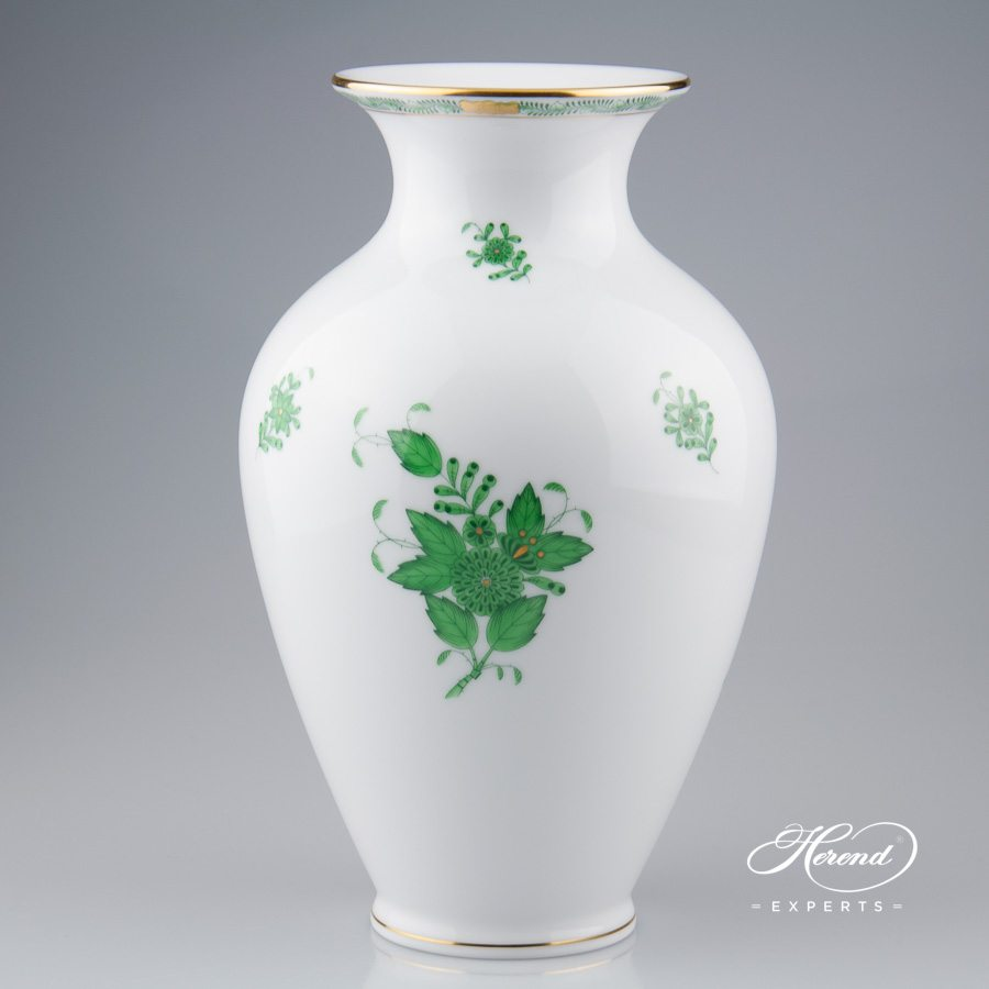 Vase 7002-0-00 AV Chinese Bouquet Green / Apponyi Green decor. Herend porcelain hand painted. Classic Herend pattern