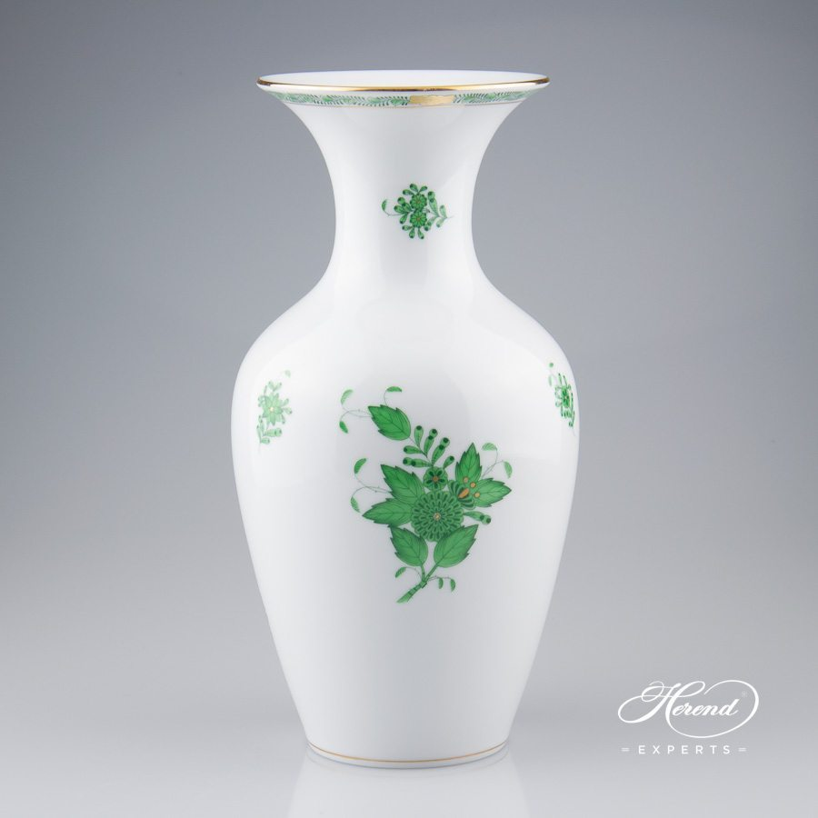 Vase Classical 7026-0-00 AV Apponyi Green pattern - Herend porcelain hand painted.