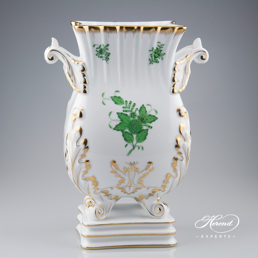 Baroque Vase 6612-0-00 AV Chinese Bouquet Green / Apponyi Green decor. Herend porcelain hand painted. Classic Herend pattern