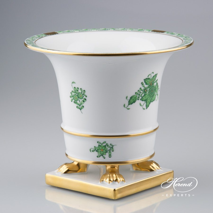 Vase Empire 6402-0-00 AV Apponyi Green pattern - Herend porcelain hand painted.