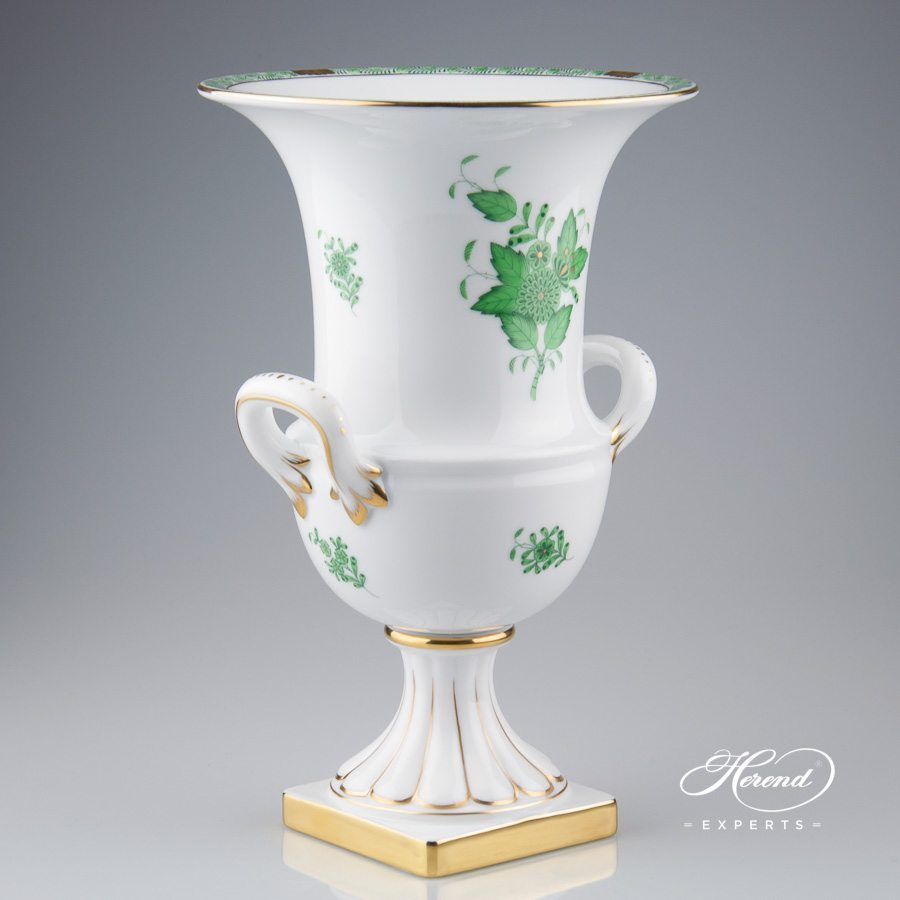 Empire Vase on Base 6431-0-00 AV Chinese Bouquet Green / Apponyi Green decor. Herend porcelain hand painted. Classic Herend pattern