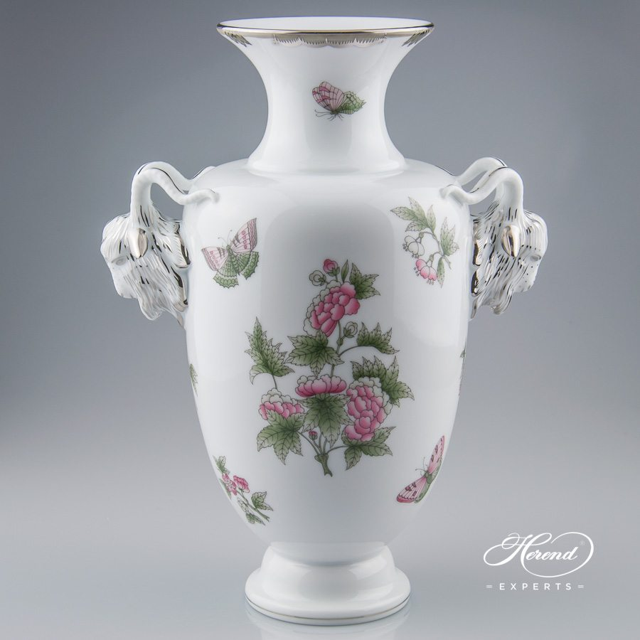 Vase with Goat Head Handle 6627-0-00 VBOG-X1-PT Queen Victoria Platinum pattern - Herend porcelain.