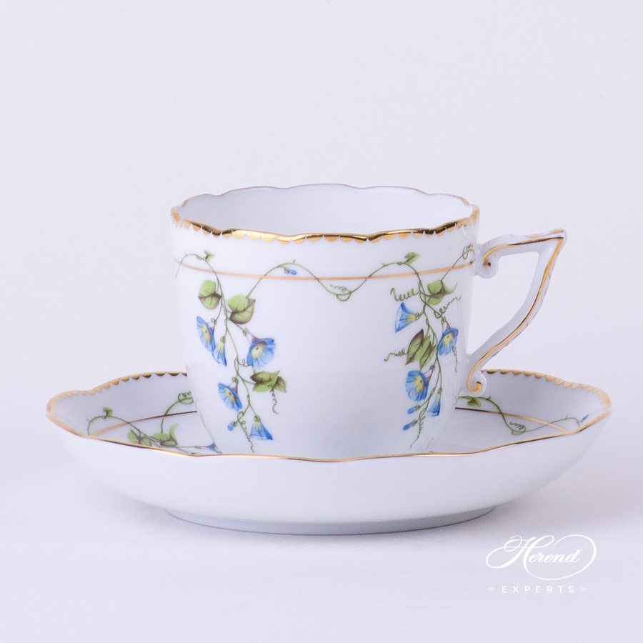 Coffee Cup with Saucer 20706-0-00 NY Nyon - Morning Glory flower pattern - Herend porcelain hand painted.