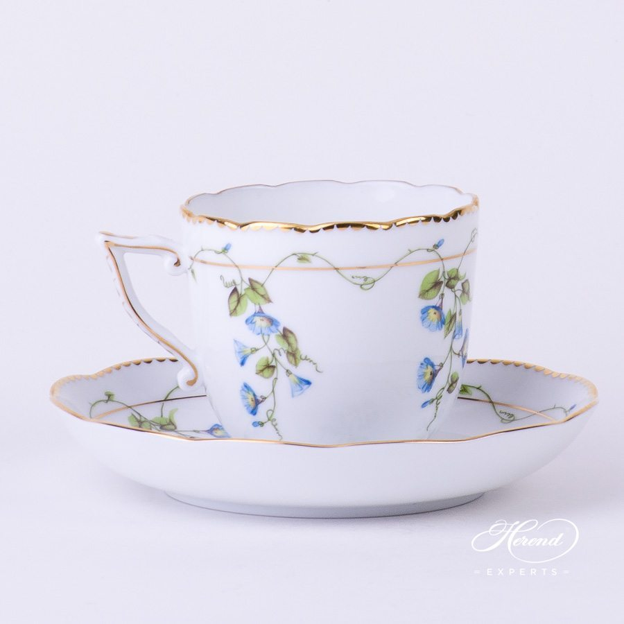 Coffee Cup w. Saucer 20706-0-00 NY Nyon / Morning Glory design. Herend fine china tableware. Hand painted