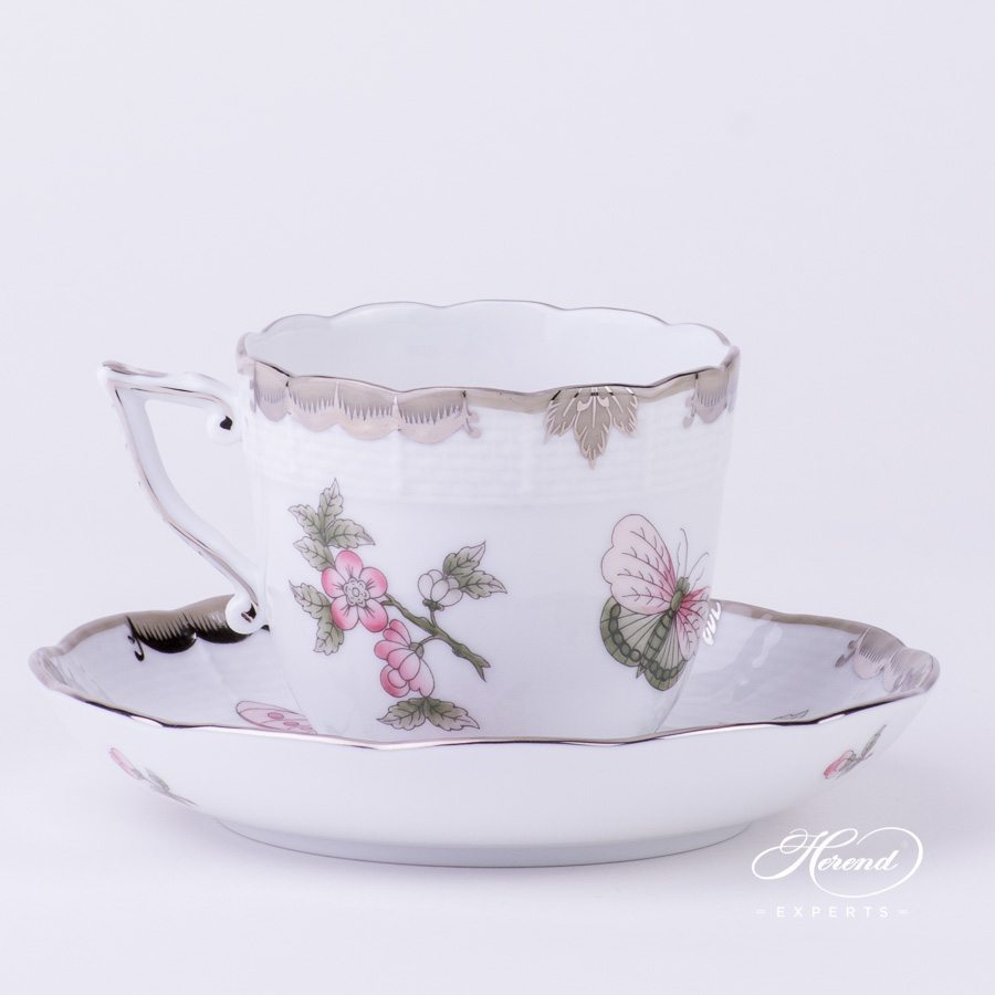 Coffee Cup w. Saucer 706-0-00 VBOG-X1-PT Queen Victoria Platinum pattern. Herend fine china hand painted