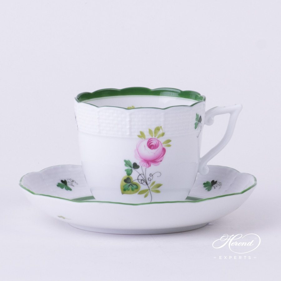 Coffee Cup w.Saucer 706-0-00 VRH Vienna Rose / Viennese Rose Green pattern. Herend fine china hand painted
