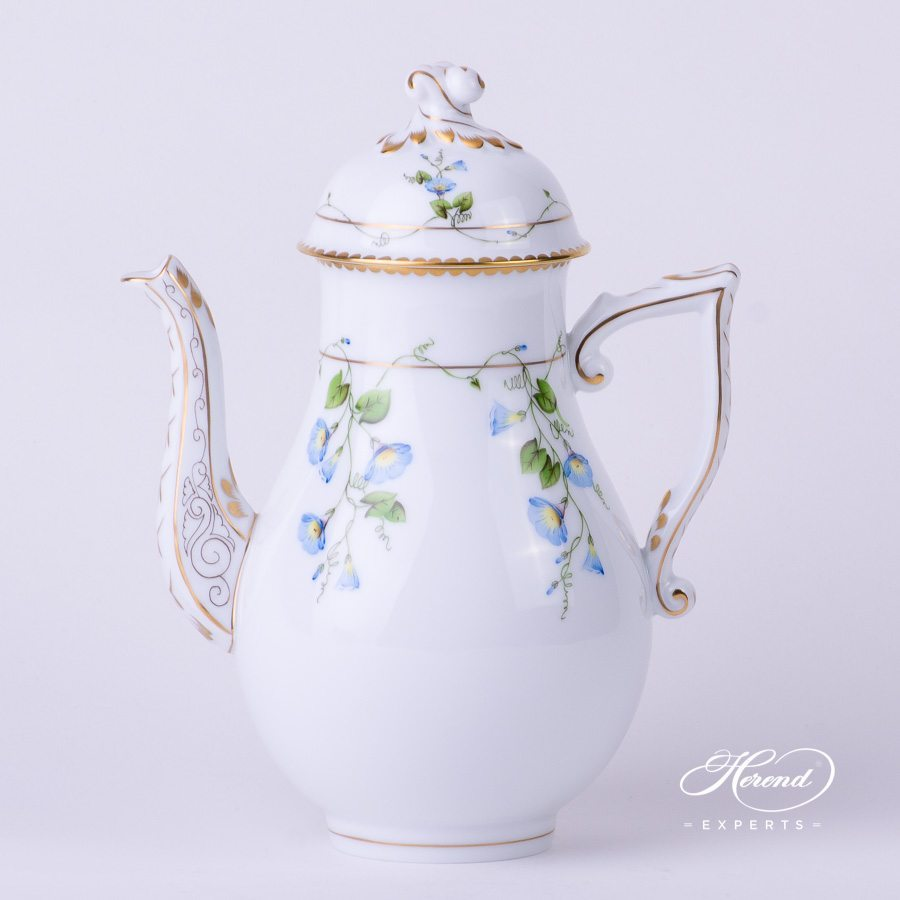 Coffee Pot with Twisted Knob 20613-0-06 NY Nyon - Morning Glory flower pattern - Herend porcelain hand painted.