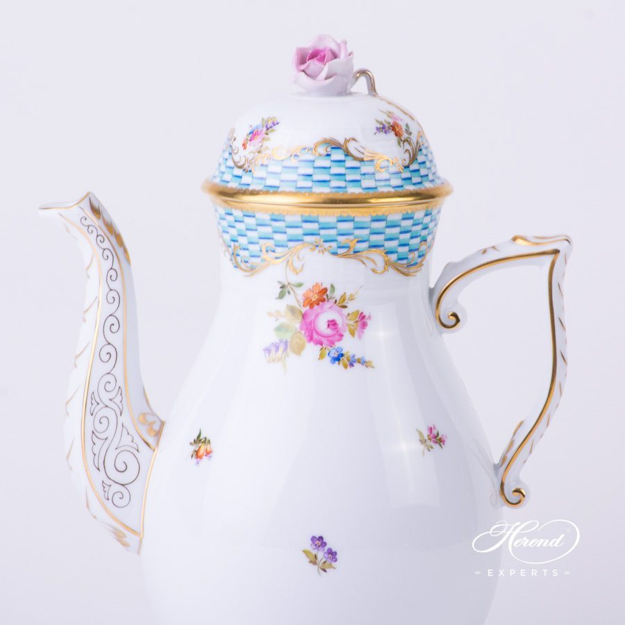 Coffee Pot with Rose Knob 612-0-09 CBTA Flowers and Blue Scales pattern. Herend porcelain hand painted