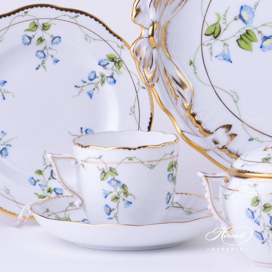 Coffee Set for 2 Persons w. Ribbon Tray - Herend Nyon / Morning Glory design. Herend fine china tableware. Hand painted. Coffee Cup volume 2 dl (6 OZ)