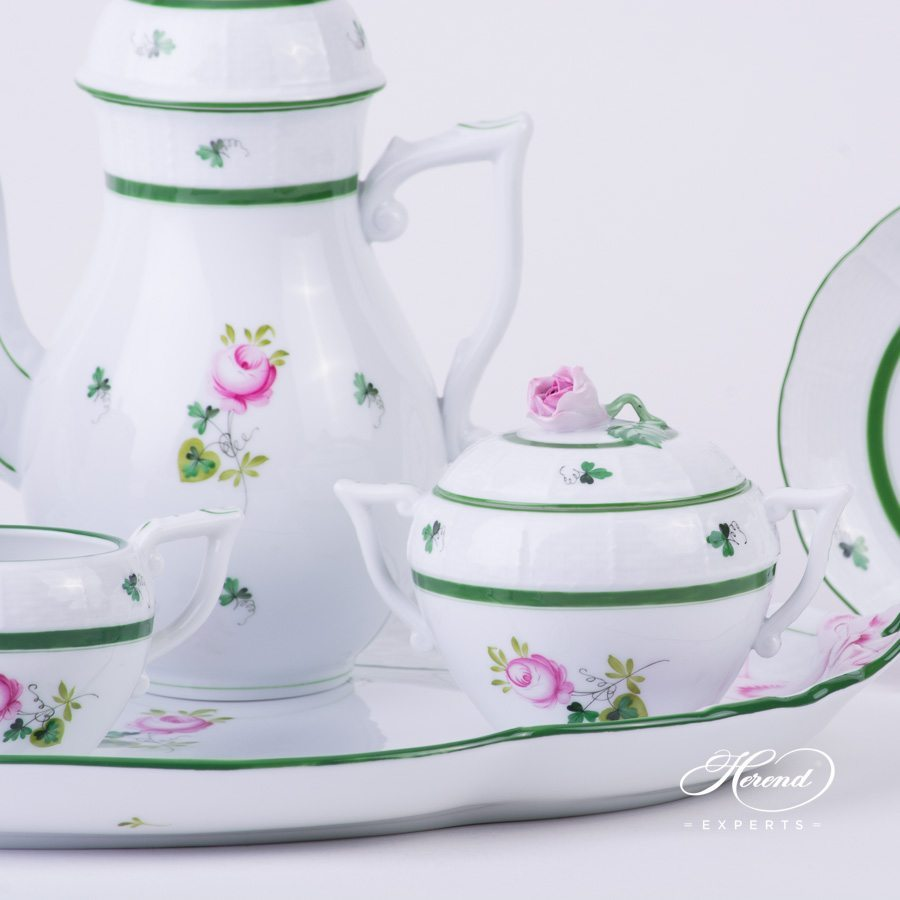 Coffee Set for 2 Persons w. Ribbon Tray - Herend Vienna / Viennese Rose Green VRH pattern. Herend fine china hand painted