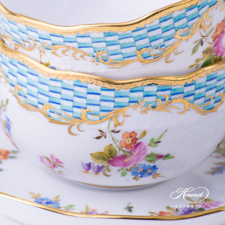 Coffee Set for 4 Persons Flowers and Blue Scales CBTA pattern - Herend porcelain hand painted.