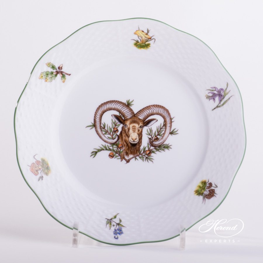 Large Dessert Plate 519-0-00 CHTM Forest Animals pattern with Green rim. Herend fine china