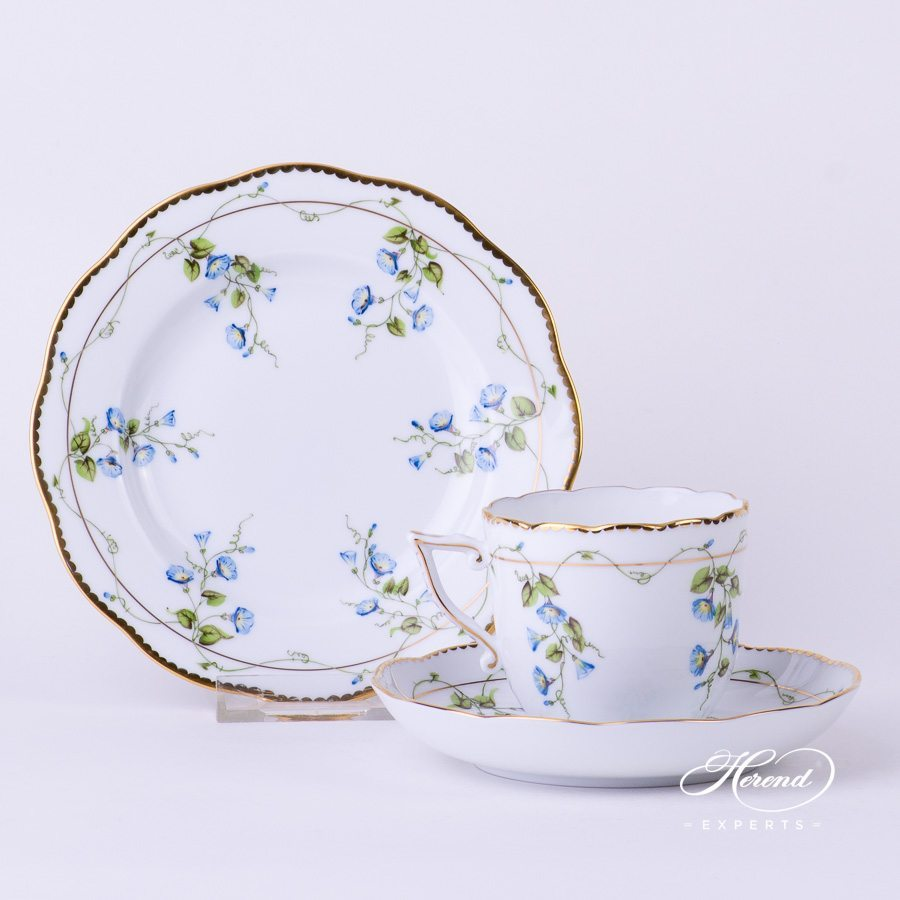 Coffee Cup with Saucer 20706-0-00 NY and Dessert Plate 20515-0-00 NY Nyon - Morning Glory flower pattern - Herend porcelain hand painted.