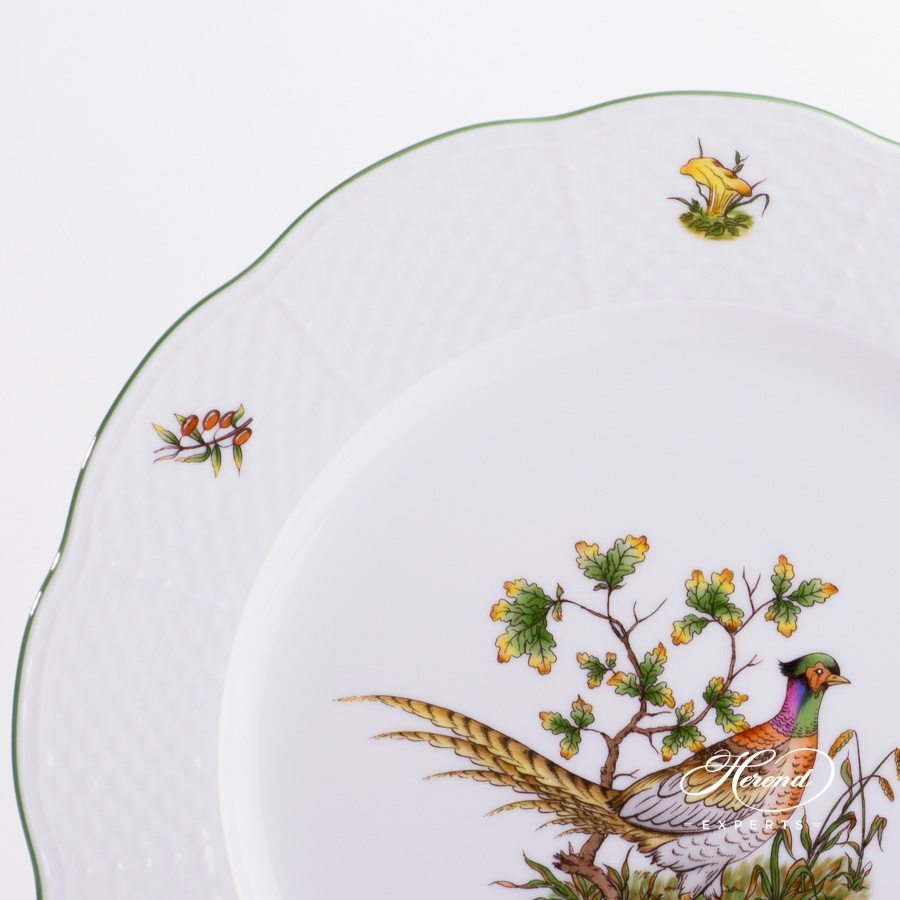 Dinner / Serving Plate 527-0-00 CHTM Forest Animals pattern with Green rim. Herend fine china
