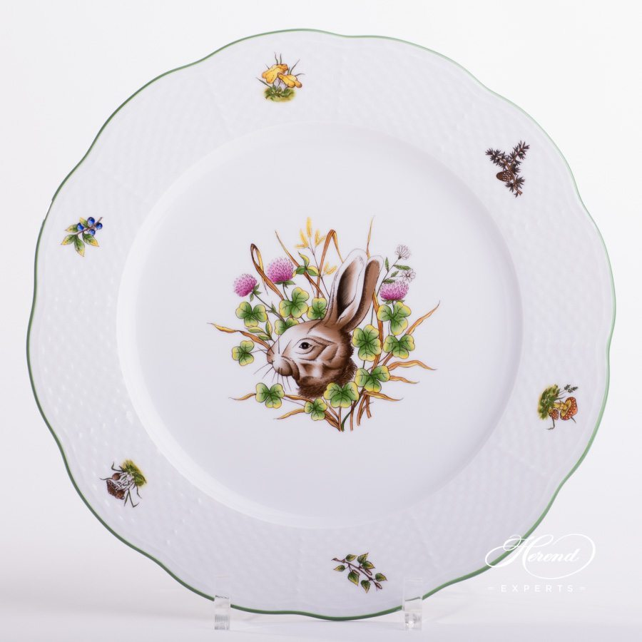Dinner / Serving Plate 527-0-00 CHTM Forest Animals pattern w. Green rim. Herend fine china