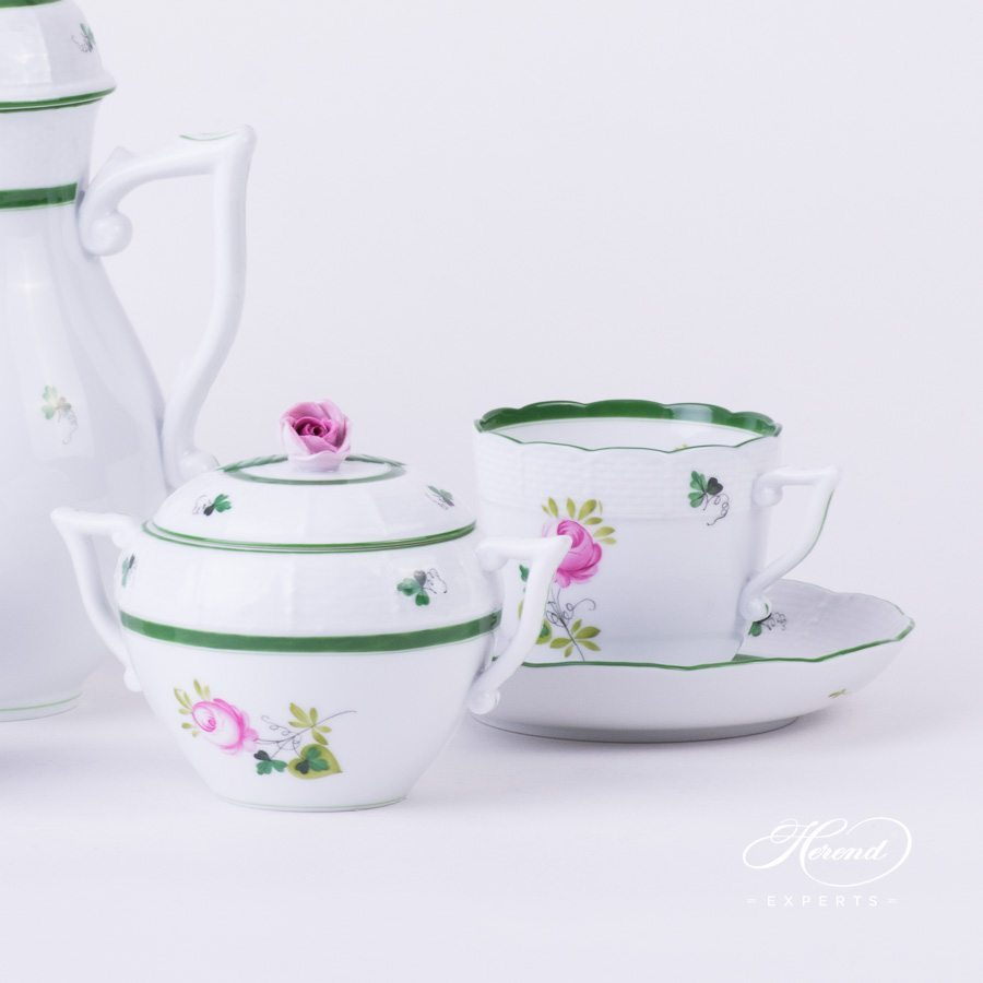Coffee Set for 2 Persons - Herend Vienna / Viennese Rose Green VRH pattern. Herend fine china hand painted