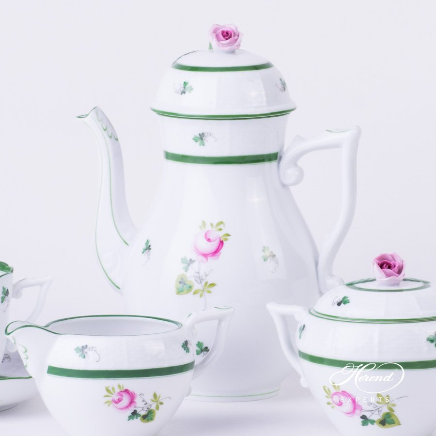 Coffee Set Vienna Rose - VRH green pattern - Herend porcelain hand painted.