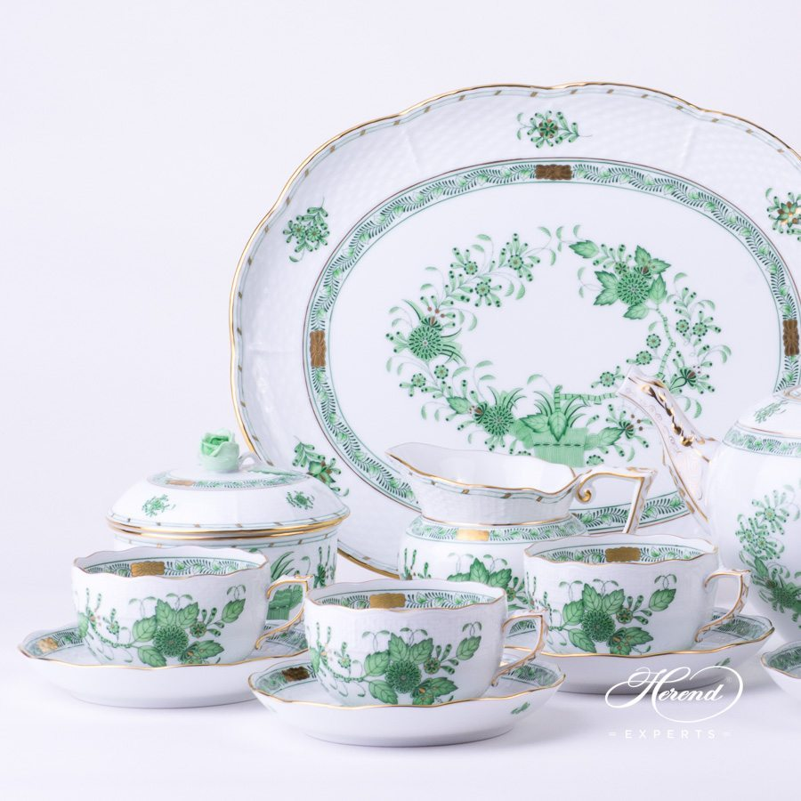 Tea Setfor4 Persons - HerendIndian BasketGreen FV pattern. Herend fine china hand painted. Classic Herend pattern