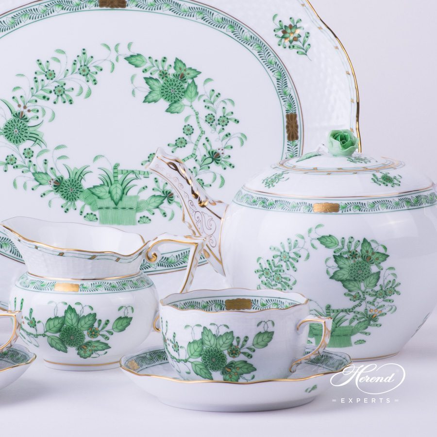 Tea Set for 2 Persons Indian Basket Green - Fleurs des Indes pattern - Herend porcelain hand painted.
