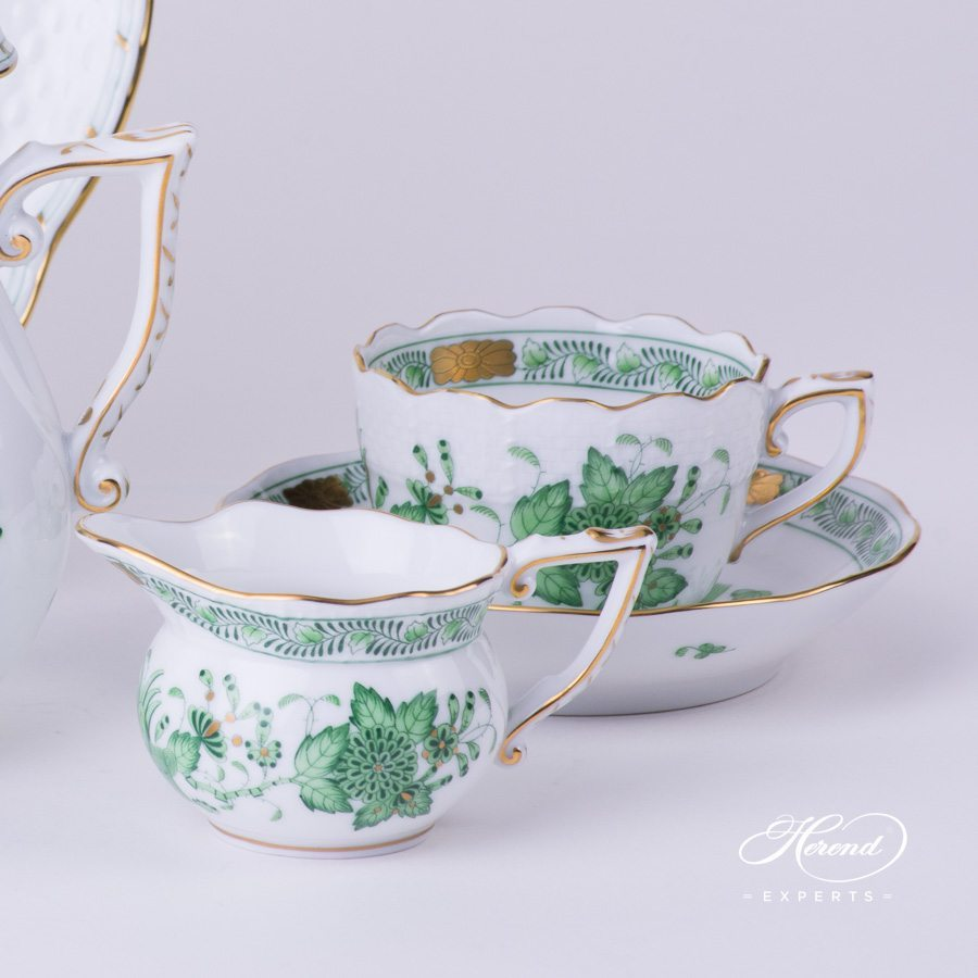 Coffee Set for 2 Persons - Herend Indian Basket Green FV pattern. Herend fine china hand painted. Classic Herend pattern