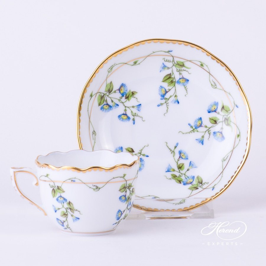 Mocha Cup with Saucer 20711-0-00 NY Nyon - Morning Glory flower pattern - Herend porcelain hand painted.