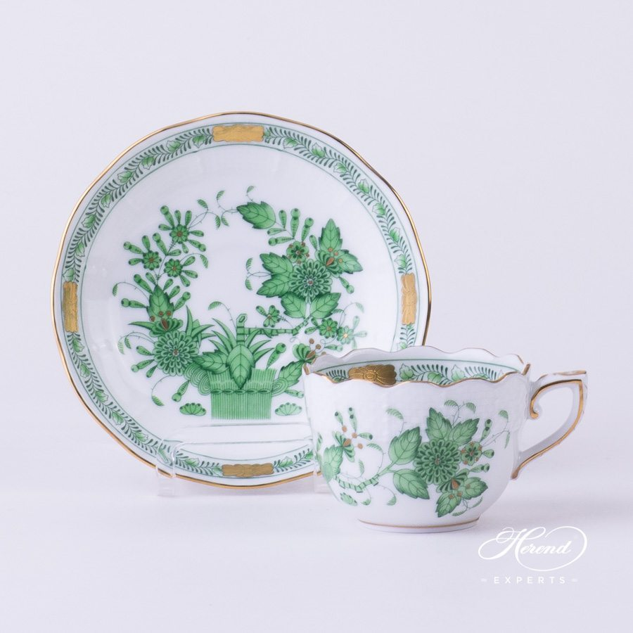 Mocha Cup with Saucer 711-0-00 FV Indian Basket Green - Fleurs des Indes pattern - Herend porcelain hand painted.