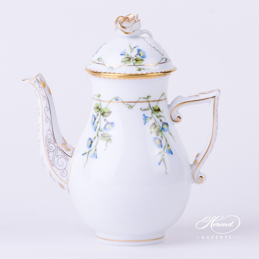 Coffee Pot w. Rose Knob 20614-0-09 NY Nyon / Morning Glory Flower design. Herend fine china tableware. Hand painted. Luxury style