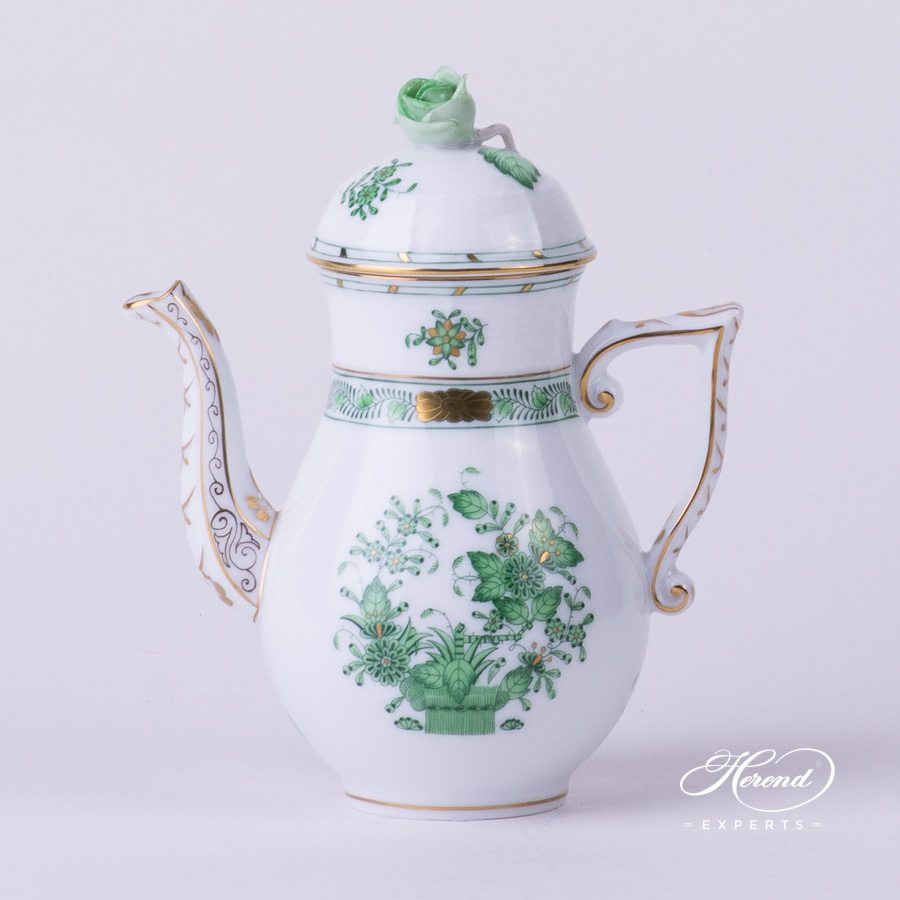 Coffee Pot with Rose Knob 614-0-09 FV Indian Basket Green. Herend porcelain hand painted