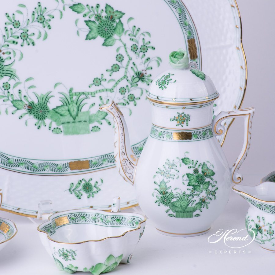 Mocha Set for 2 Persons Indian Basket Green - Fleurs des Indes pattern - Fleurs des Indes pattern - Herend porcelain hand painted.