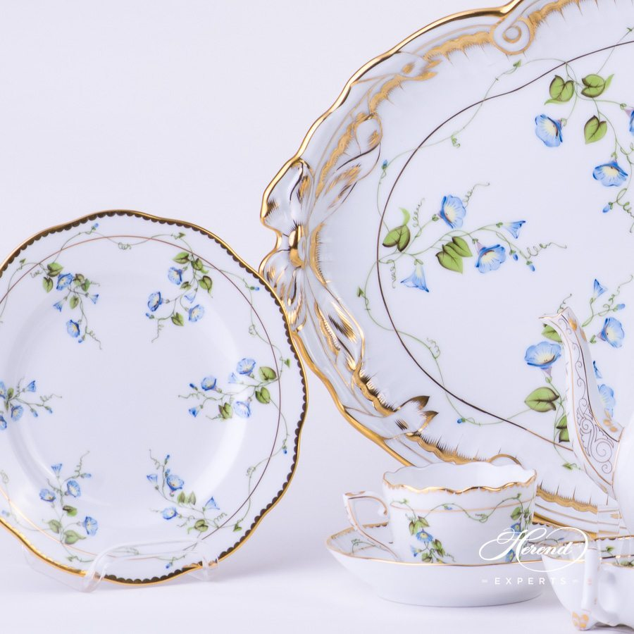 Mocha Set for 2 Persons Nyon - Morning Glory pattern - Herend fine china hand painted.