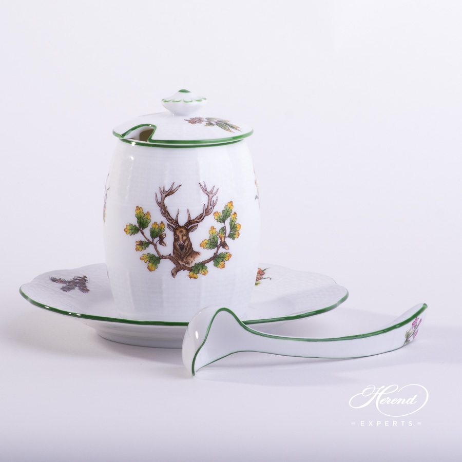Mustard Pot w. Spoon 242-7-15 CHTM Forest Animals pattern with Green rim. Herend fine china