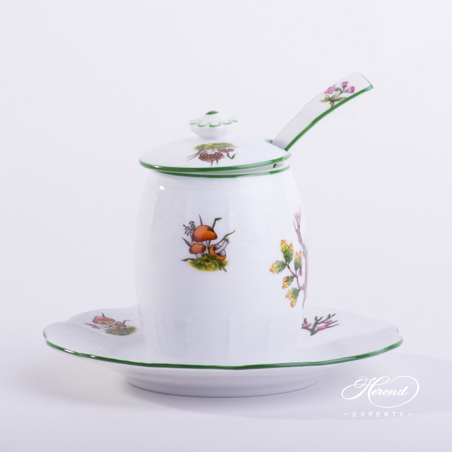 Mustard Pot with Spoon Hunter Trophies CHTM pattern - Herend porcelain hand painted.