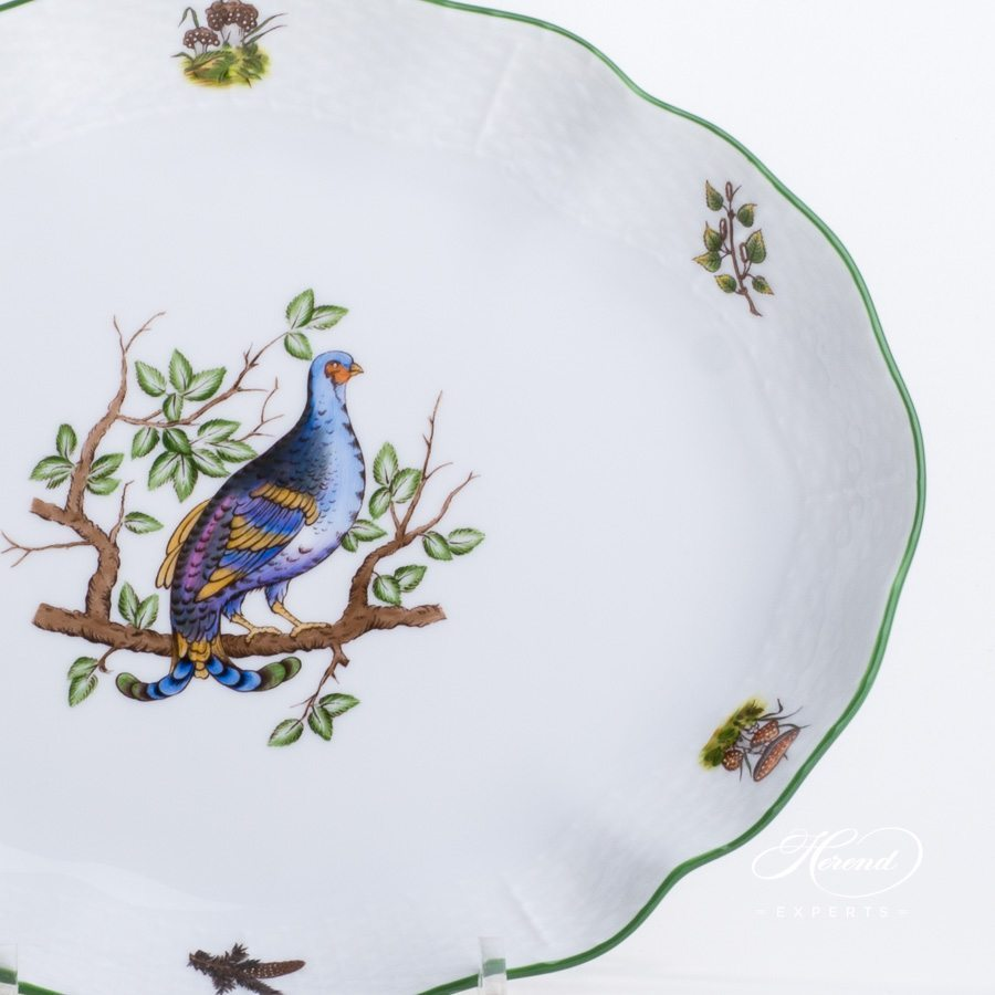 Oval Dish 211-0-00 CHTM Forest Animals pattern w. Green rim. Herend fine china