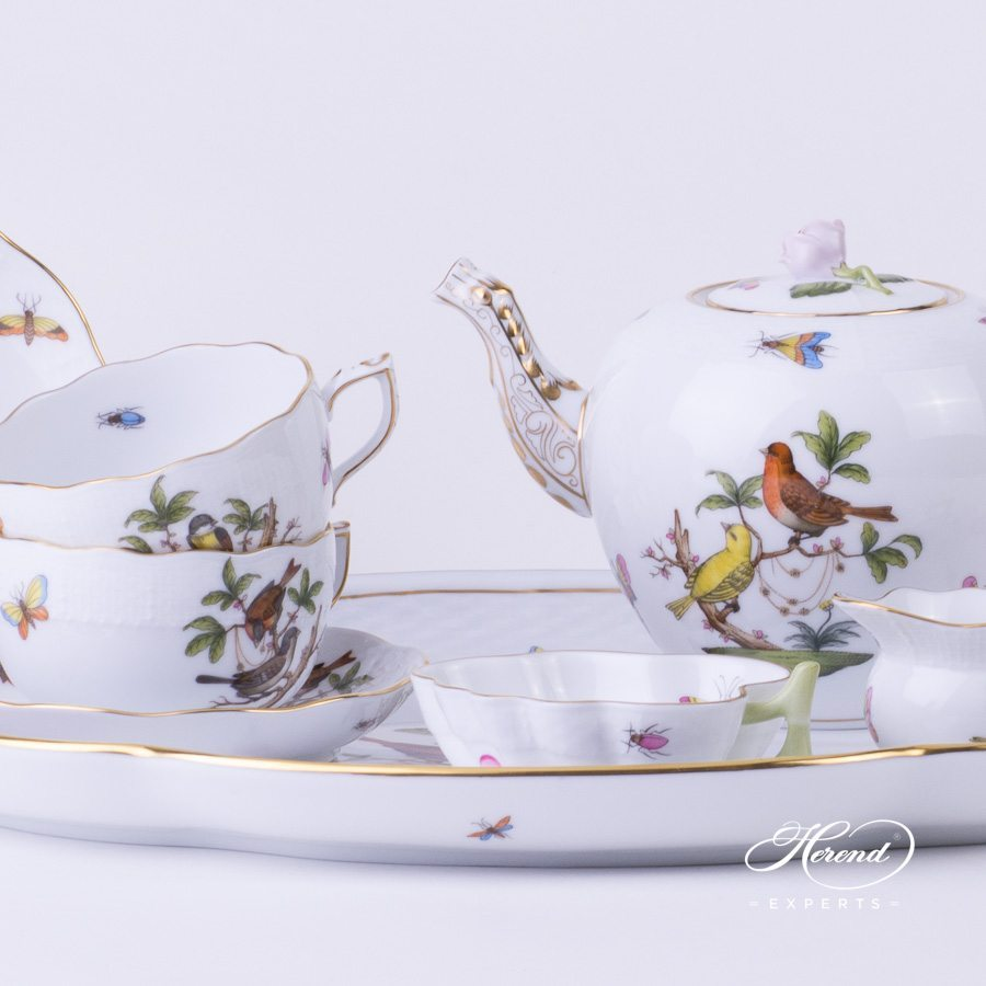 Tea Set for 2 Persons Rothschild Bird RO pattern - Herend porcelain hand painted.