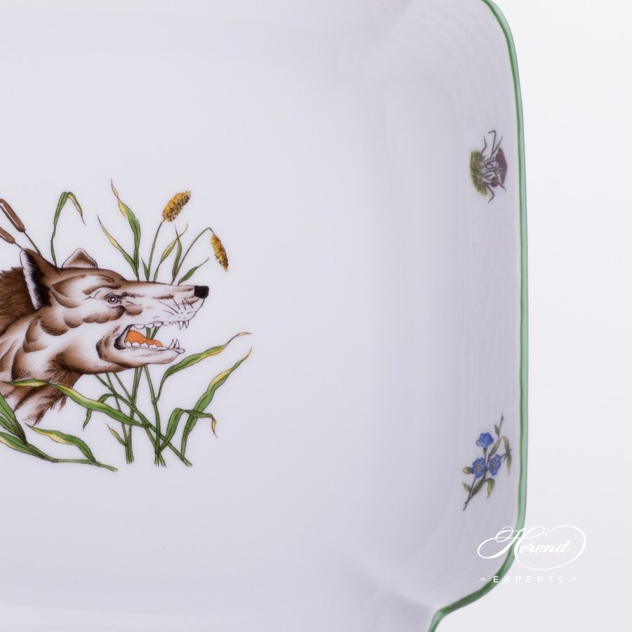 Salad Dish 181-0-00 CHTM Forest Animals pattern w. Green rim. Herend fine china