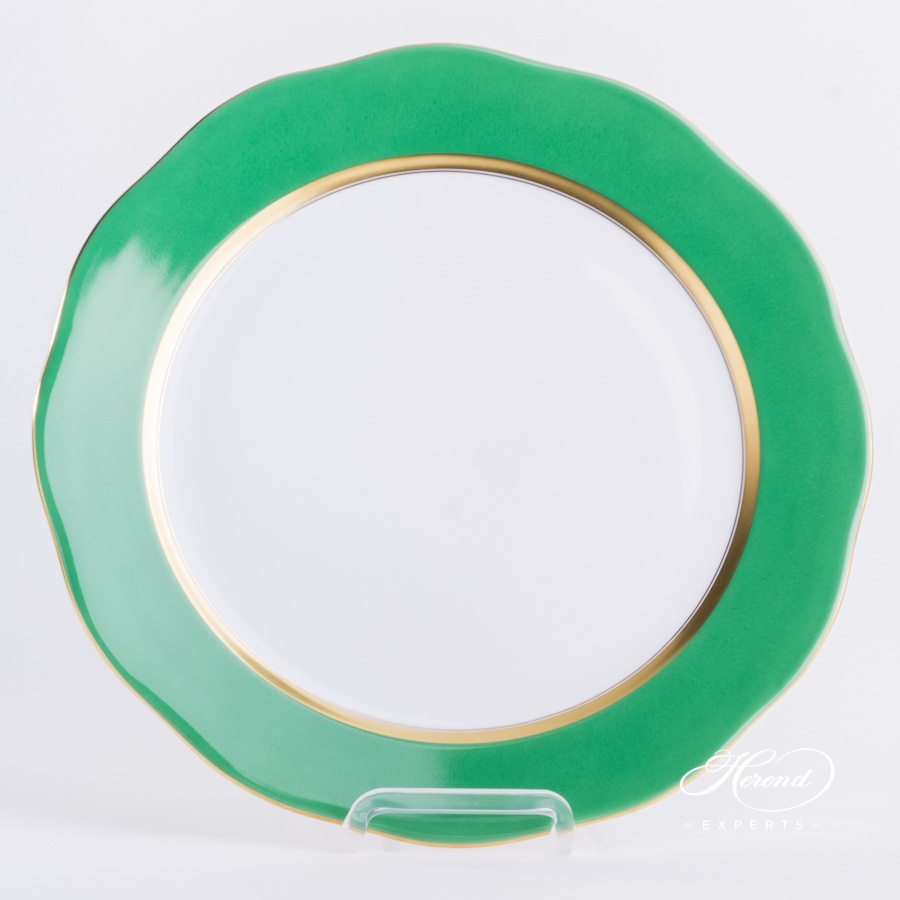Serving Plate 20157-0-00 CV5 Green Edge pattern. Herend fine china tableware. Hand painted