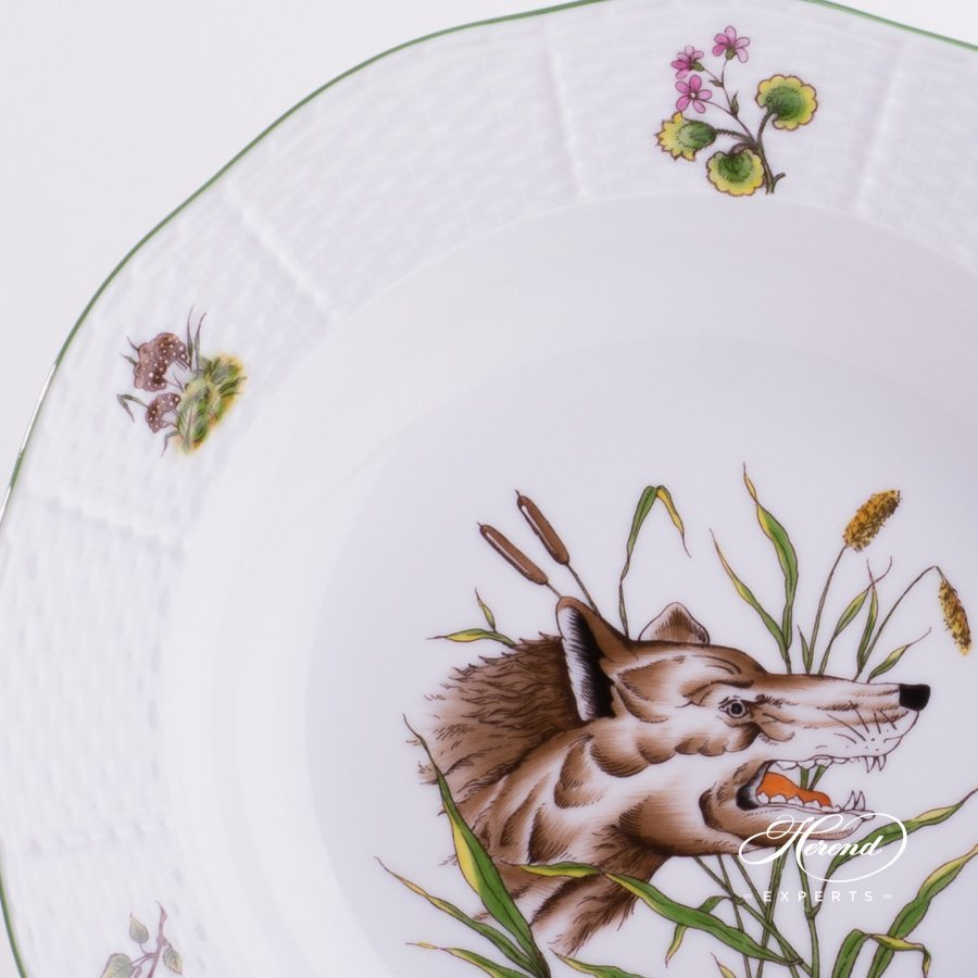 Soup Plate 503-0-00 CHTM Forest Animals pattern w. Green rim. Herend fine china