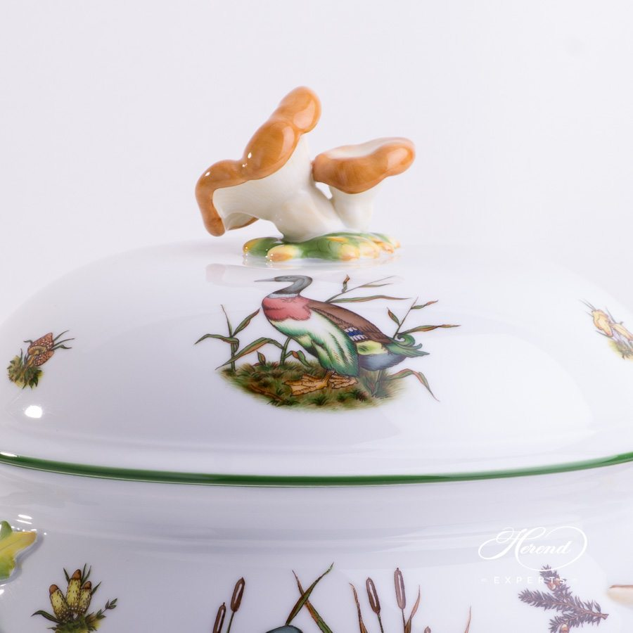 Soup Tureen w. Branch Handles 3777-0-20 CHTM Forest Animals pattern w. Green rim. Herend fine china